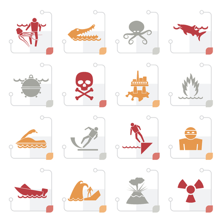 Stylized Warning Signs for dangers in sea, ocean, beach and rivers - vector icon set 1