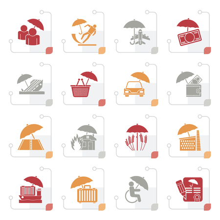 Stylized insurance, risk and business icons - vector icon set