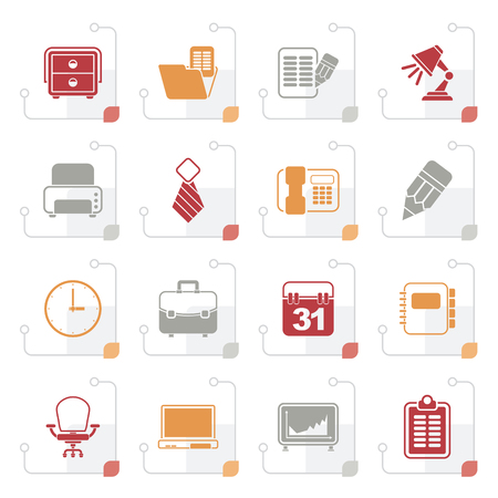 calendar design: Stylized Business and office equipment icons - vector icon set