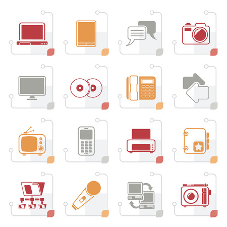 mobile communication: Stylized Communication and connection technology icons - vector icon set