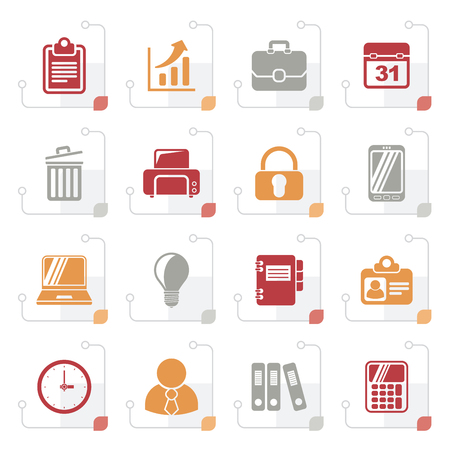 mobile communication: Stylized Business and office icons - vector icon set Illustration