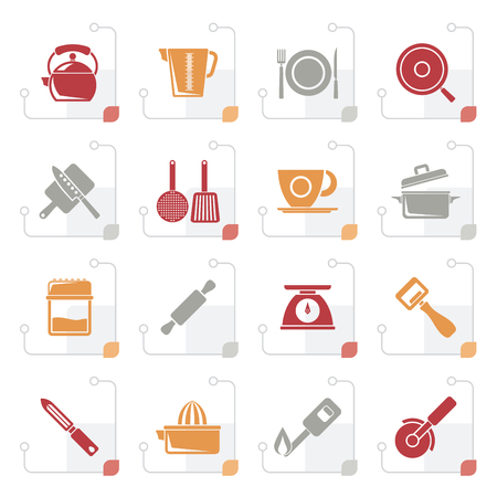 Stylized kitchen gadgets and equipment icons set Illustration