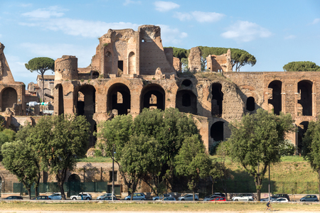 ROME, ITALY - JUNE 22, 2017: Amazing panoramic view of Circus Maximus and Palatine Hill in city of Rome, Italy
