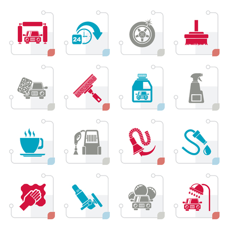 Stylized car wash objects and icons - vector icon set Illustration