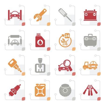 car wash: Stylized Car parts and services icons - vector icon set 1