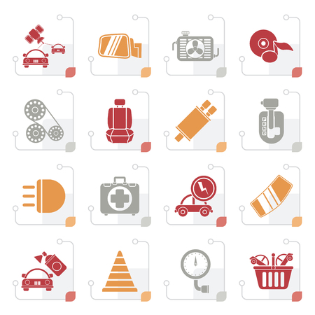 automatic transmission: Stylized Car parts and services icons - vector icon set 3 Illustration