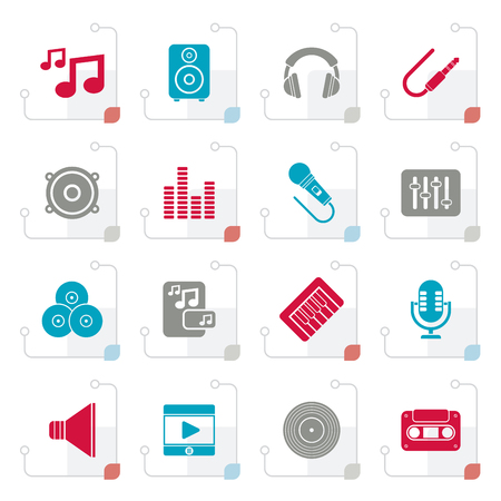 Stylized Music, sound and audio icons - vector icon set