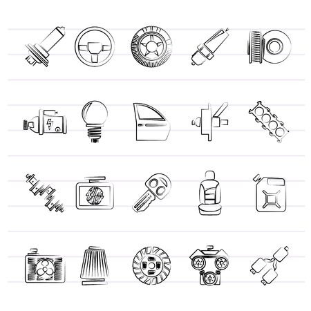 Car part and services icons 1 - vector icon set