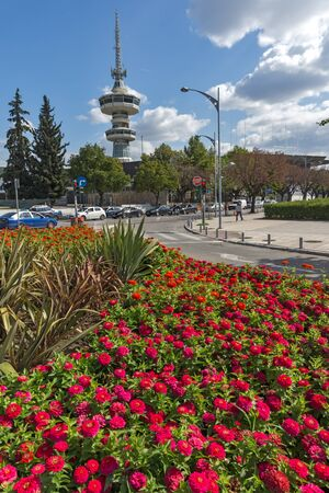 THESSALONIKI, GREECE - SEPTEMBER 30, 2017: OTE Tower and flowers in front in city of Thessaloniki, Central Macedonia, Greece