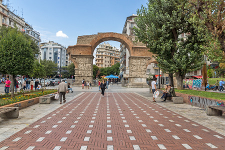 THESSALONIKI, GREECE - SEPTEMBER 30, 2017: Roman Arch of Galerius in the center of city of Thessaloniki, Central Macedonia, Greece Editorial