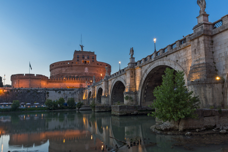 castel: ROME, ITALY - JUNE 22, 2017: Amazing Sunset view of St. Angelo Bridge and castle st. Angelo in city of Rome, Italy