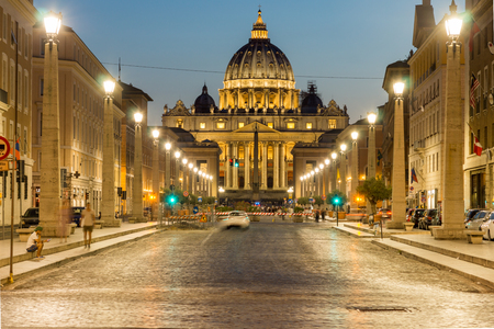 italian fountain: ROME, ITALY - JUNE 22, 2017: Amazing Night photo of Vatican and St. Peters Basilica in Rome, Italy