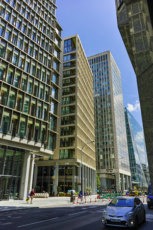 LONDON, ENGLAND - JUNE 15, 2016: Modern business building in City of London, England, Great Britain