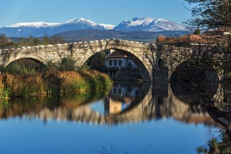 Kadin most - a 15th-century stone arch bridge over the Struma River at Nevestino, Kyustendil Province, Bulgaria