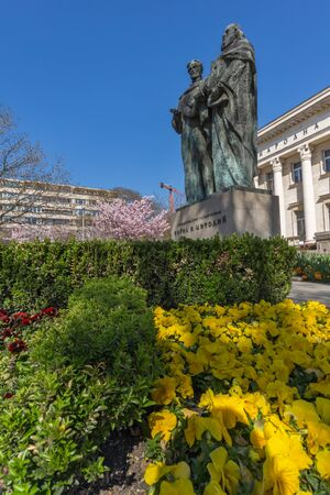 SOFIA, BULGARIA - APRIL 1, 2017: Spring view of National Library St. Cyril and St. Methodius in Sofia, BulgariaSOFIA, BULGARIA - APRIL 1, 2017: Spring view of National Library St. Cyril and St. Methodius in Sofia, Bulgaria