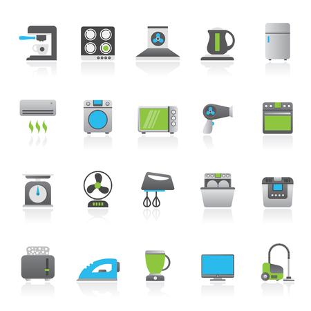 Haushaltsgeräte und Elektronikikonen - Vektor, Ikonensatz Standard-Bild - 89856037