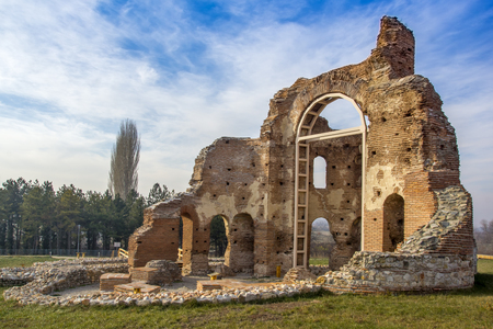 Red Church - large partially preserved late Roman (early Byzantine) Christian basilica near town of Perushtitsa, Plovdiv Region, Bulgaria Editorial
