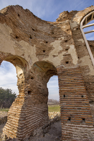 Red Church - large partially preserved late Roman (early Byzantine) Christian basilica near town of Perushtitsa, Plovdiv Region, Bulgaria Stock Photo