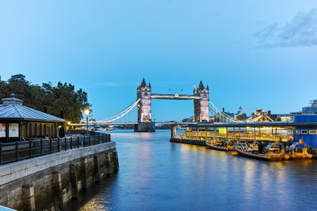 LONDON, ENGLAND - JUNE 15 2016: Sunset view of Tower Bridge in London, England, Great Britain Editorial