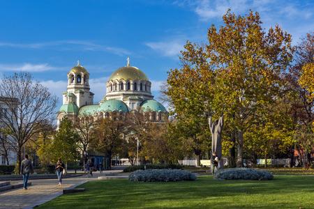 SOFIA, BULGARIA - NOVEMBER 7, 2017: Golden Domes  of Cathedral Saint Alexander Nevski in Sofia, Bulgaria Editorial
