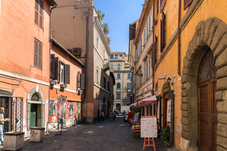 ROME, ITALY - JUNE 23, 2017: Building and street in Trastavete district in city of Rome, Italy Editorial