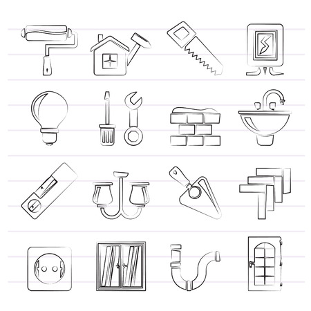 Home repair and renovation icons - vector icon set