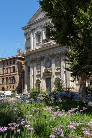 ROME, ITALY - JUNE 23, 2017: Sunset view of Basilica San Carlo ai Catinari in Rome, Italy Editorial