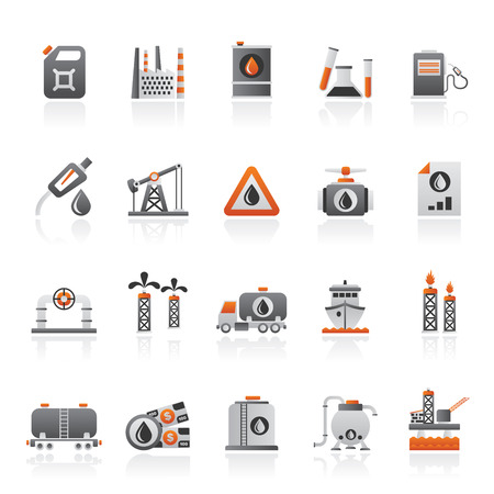 Oil and petrol industry icons set 일러스트