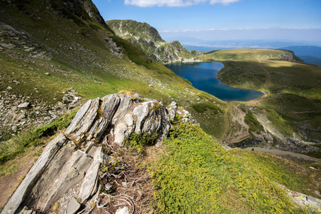 Amazing Landscape of The Kidney lake, The Seven Rila Lakes, Bulgaria Stok Fotoğraf