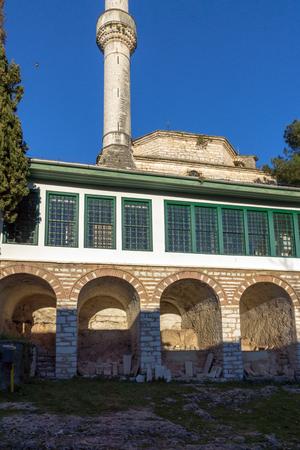 Amazing Sunset view of Aslan Pasha Mosque in castle of city of Ioannina, Epirus, Greece