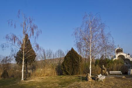 TEMPLE OF VANGA, BULGARIA - JANUARY 3, 2014:  Autumn view of Temple of Vanga near village of Rupite, Blagoevgrad region, Bulgaria