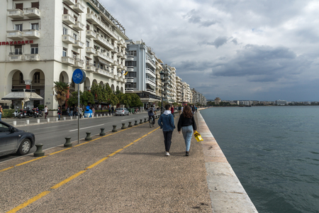 THESSALONIKI, GREECE - SEPTEMBER 30, 2017:  Amazing view of embankment of city of Thessaloniki, Central Macedonia, Greece