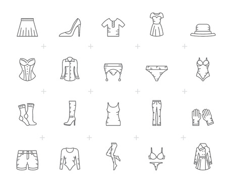 Line woman clothing icons - vector icon set
