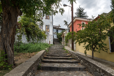 XANTHI, GREECE - SEPTEMBER 23, 2017: Street and old houses in old town of Xanthi, East Macedonia and Thrace, Greece