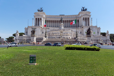 ROME, ITALY - JUNE 23, 2017: Amazing view of Altar of the Fatherland- Altare della Patria, known as the national Monument to Victor Emmanuel II in city of Rome, Italy Editorial