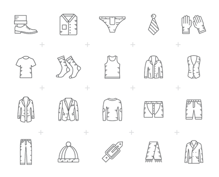 Line man clothing icons - vector icon set Çizim