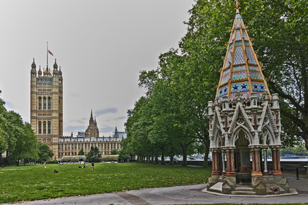 LONDON, ENGLAND - JUNE 19 2016: Victoria Tower in Houses of Parliament, Palace of Westminster,  London, England, Great Britain Editorial