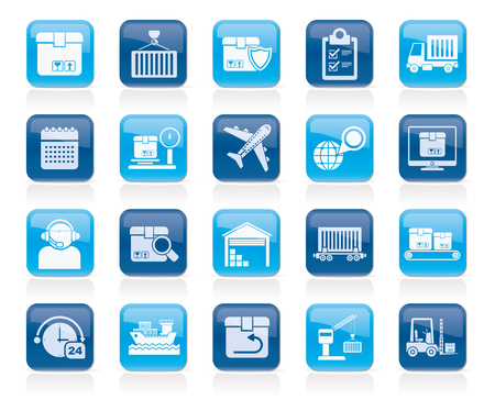 Logistics delivery transportation and cargo icons -vector icon set