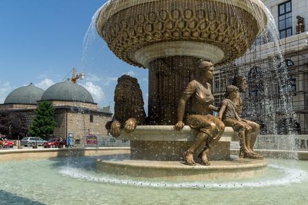 SKOPJE, REPUBLIC OF MACEDONIA - 13 MAY 2017: Philip II of Macedon Monument in Skopje, Republic of Macedonia