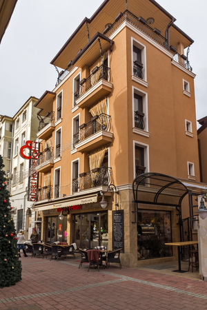 PLOVDIV, BULGARIA - DECEMBER 30, 2016: Houses and street in the center of city of Plovdiv, Bulgaria
