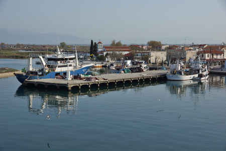 KERAMOTI, GREECE - APRIL 4, 2016:  Amazing view of Port of village of Keramoti, East Macedonia and Thrace, Greece