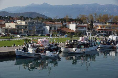 KERAMOTI, GREECE - APRIL 4, 2016:  Amazing view of Port of village of Keramoti, East Macedonia and Thrace, Greece