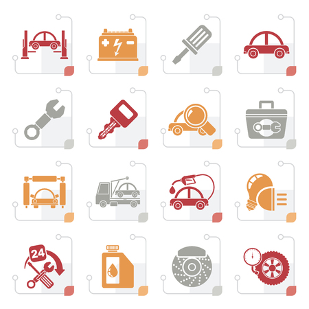 Stylized Car service maintenance icons - vector icon set Stock Illustratie