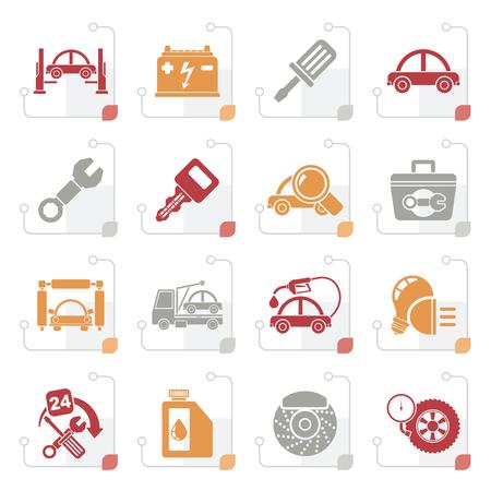 Stylized Car service maintenance icons - vector icon set Illustration