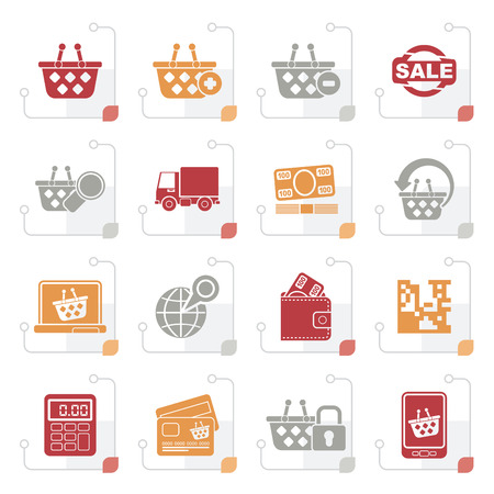 Stylized shopping and retail icons - vector icon set