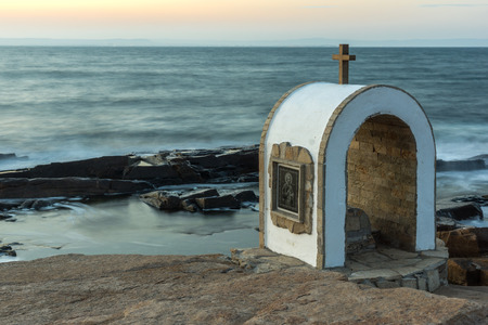 Iconostasis St. Peter and St. Nicholas at coastline of village of Chernomorets, Burgas Region, Bulgaria Stock Photo