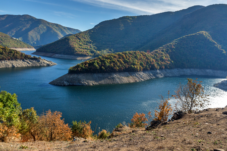 Amazing Autumn landscape of Meander of Vacha (Antonivanovtsy) Reservoir, Rhodopes Mountain, Bulgaria Stock Photo