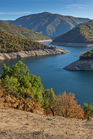 Amazing Autumn landscape of Meander of Vacha (Antonivanovtsy) Reservoir, Rhodopes Mountain, Bulgaria Stock Photo