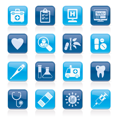 Hospital, medical and healthcare icons vector icon set. Иллюстрация