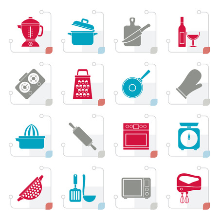 Stylized cooking tools icons - vector icon set Illustration
